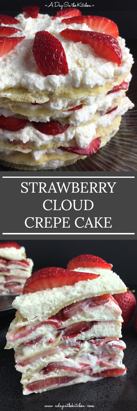 A deliciously light and refreshing dessert, Strawberry Cloud Crepe Cake is gluten-free with no refined sugar. A fabulous way to enjoy ripe summer berries. #strawberries #crepecake #glutenfreecake #whippedcream #strawberrycrepecake #glutenfree #desserts