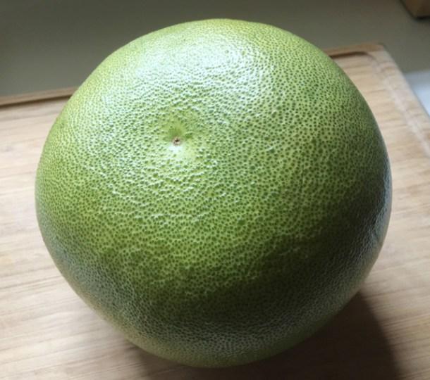 A whole green pomelo for Prawn Pomelo Salad