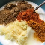 Spices and yogurt for Creamy Butter Chicken marinade