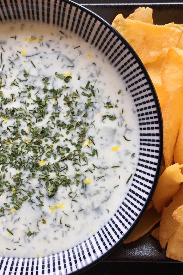 A bowl of Greek Yogurt Cucumber Tzatziki - Favorites of 2018