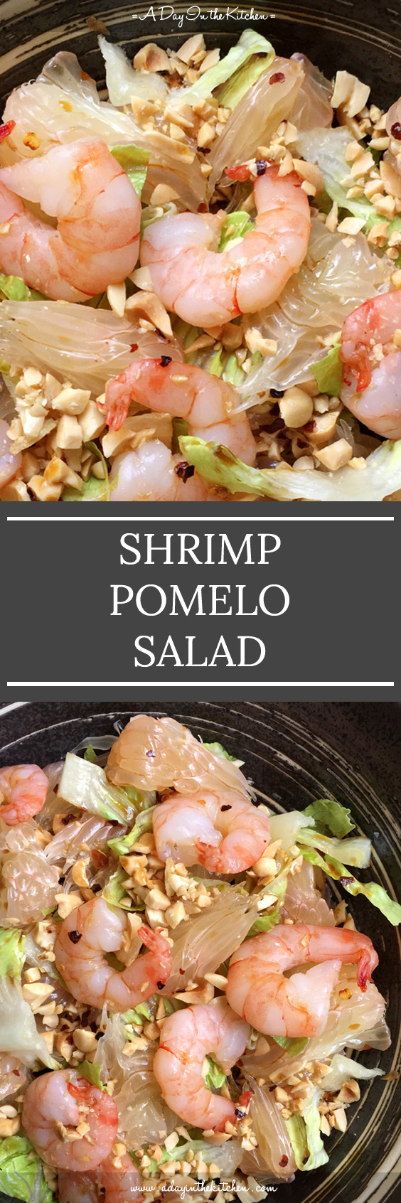 Tender shrimp, juicy pomelo wedges, crunchy peanuts, and a spicy, tangy, sweet dressing combine to make the perfect salad. #pomelosalad #shrimppomelosalad #pomelo #shrimp #thaisalads
