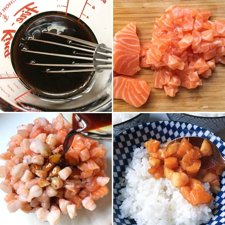 Dark sauce in a measuring cup, chopped salmon and shirmp, and a bowl of white rice, how to make poke bowls