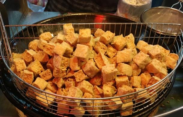 A basket of deep fried tofu - eat in Taipei