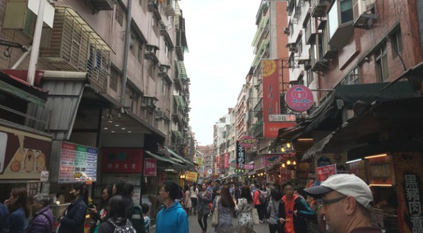 Walking down the old street in Tamsui in Taipei