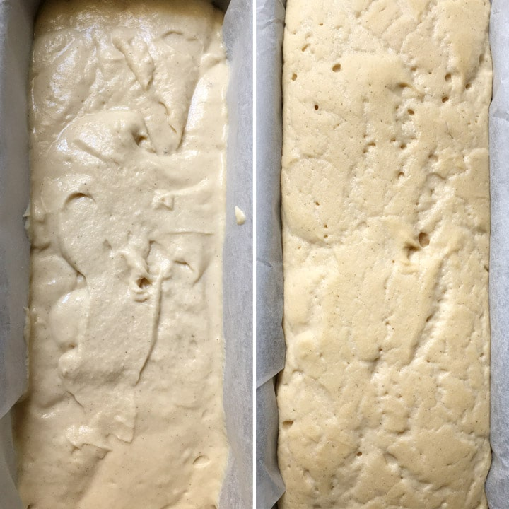 Side by side photo, batter in a bread loaf pan, batter that has risen in a loaf pan