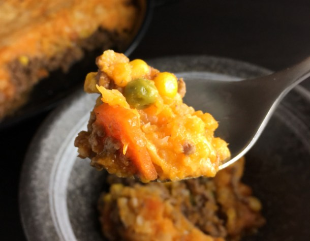 Close-up of a spoonful of Sweet Potato Cauliflower Shepherd's Pie