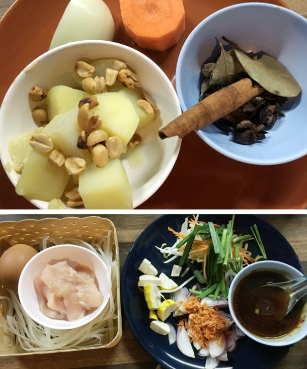Potatoes, peanuts, onion, carrot, and spices for Massaman Curry, and noodles, chicken egg, sauce, and tofu for pad Thai in Chiang Mai