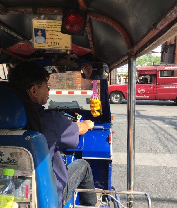 View from sitting inside a tuk tuk in Chiang Mai
