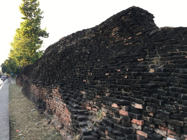 A section of the original brick wall of the Walled Old City in Chiang Mai