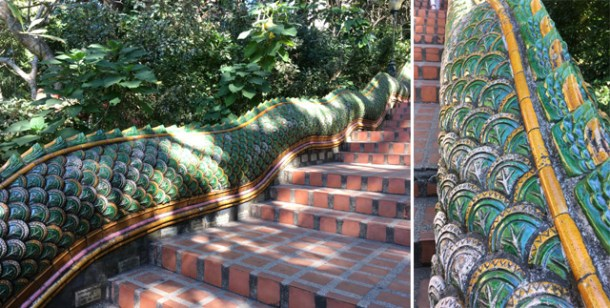 Close-up photos of the green serpent handrail alongside the steps leading up to the Golden Temple in Chiang Mai