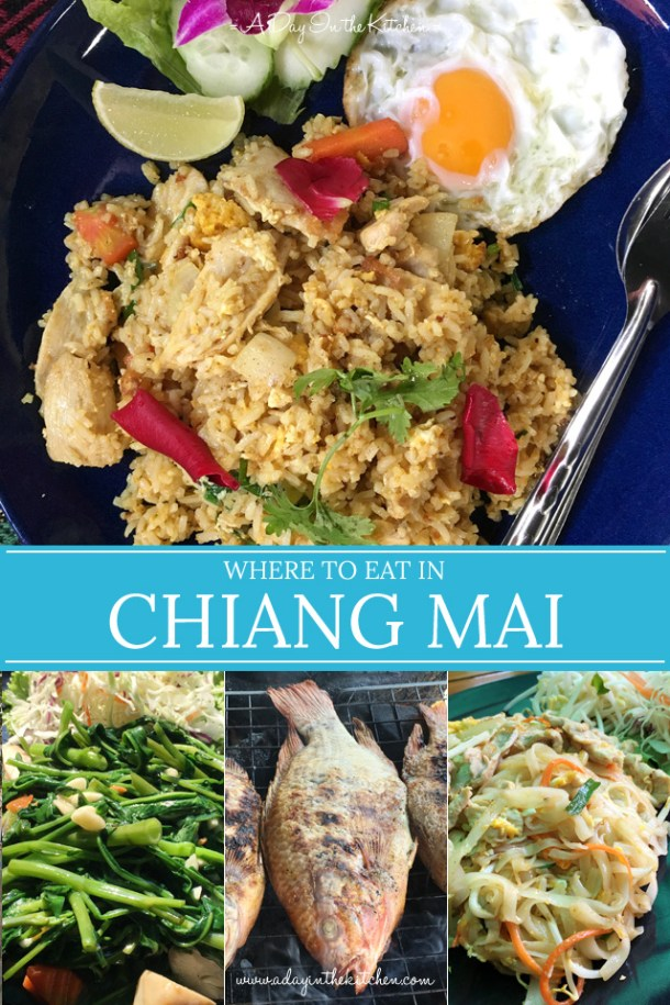 Images of Thai food with text overlay Where To Eat In Chiang Mai