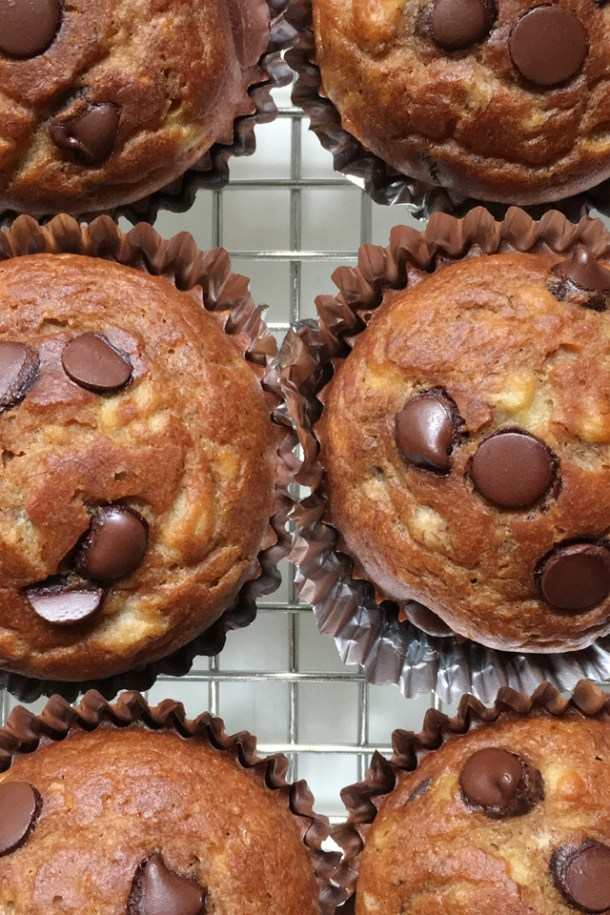 Close-up of 6 banana chocolate chip muffins on a cooling rack