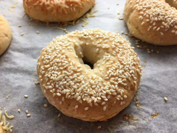Close-up of a gluten-free bagel topped with sesame seeds