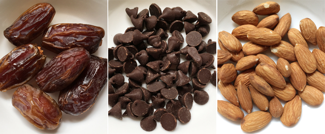 A collage of 3 photos, whole dates, chocolate chips, and whole almonds for nutty chocolate coated dates