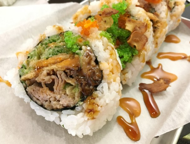 Close-up of the Beef-Iyaki Roll from Chotto Maki