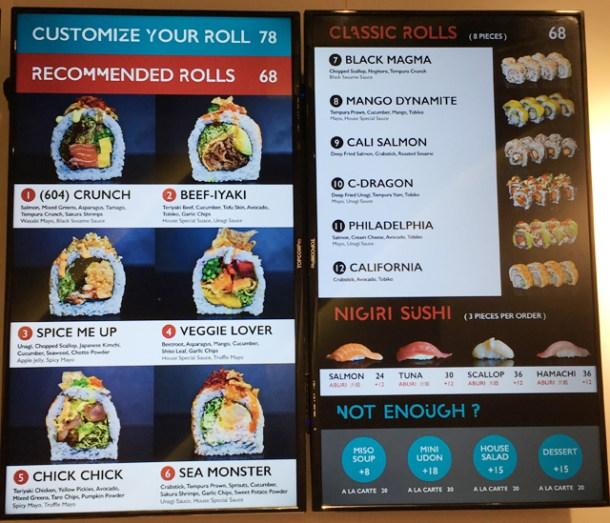 A menu display in Chotto Maki