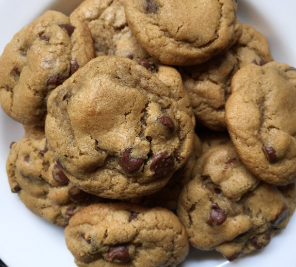 A white plate containing several gluten-free chocolate chip cookies