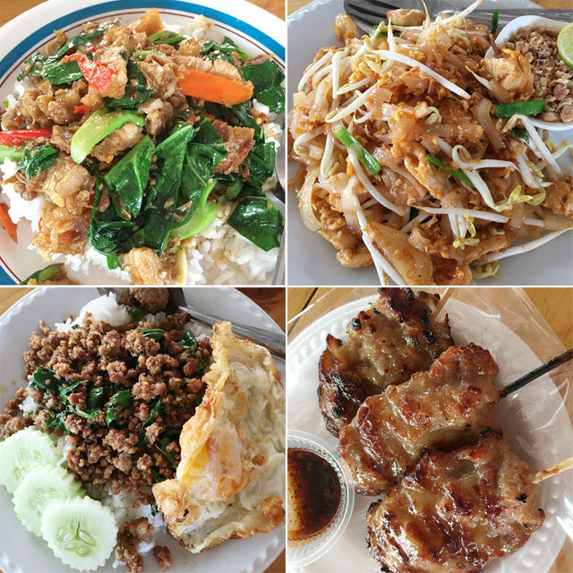 Food photos of meat skewers, stirfried green vegetables and meat on rice, noodles, and ground meat and egg on rice