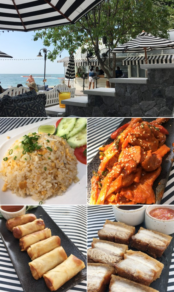 Photos of a restaurant by the ocean, fried rice, spring rolls, chunks of roast pork, and orange pork