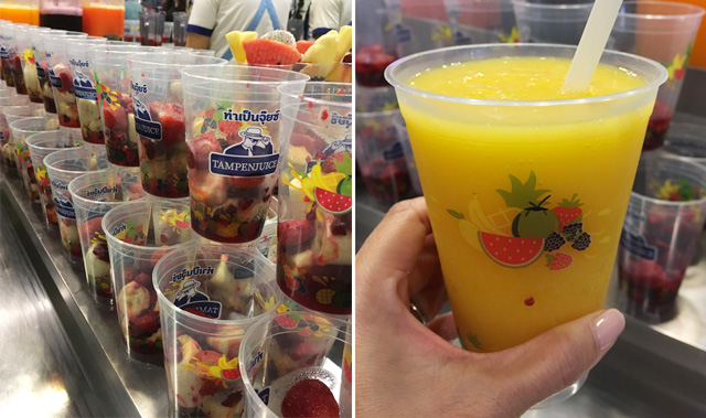 Photos of plastic cups with chopped fruit, and a hand holding a cup containing an orange drink
