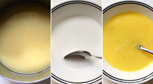 How to make egg drop soup with chicken broth, tapioca slurry, and eggs