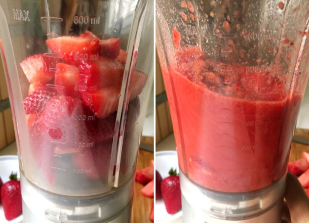 How to make fresh fruit sparklers, a blender containing cut red strawberries, and the blender pureeing the strawberries