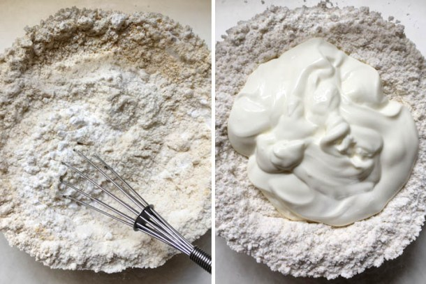 Bowl of dry flour ingredients and a bowl of white yogurt with dry ingredients, how to make gluten-free breadsticks