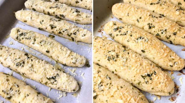 A pan of unbaked breadsticks next to a pan of baked breadsticks