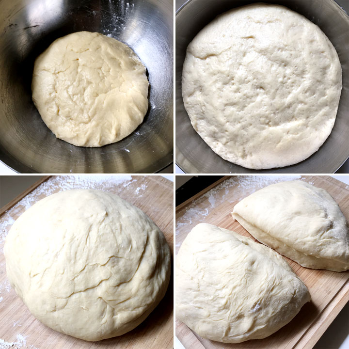 Bread dough rising in a bowl, a large dough ball on a floured wooden board, two chunks of bread dough on a wooden board