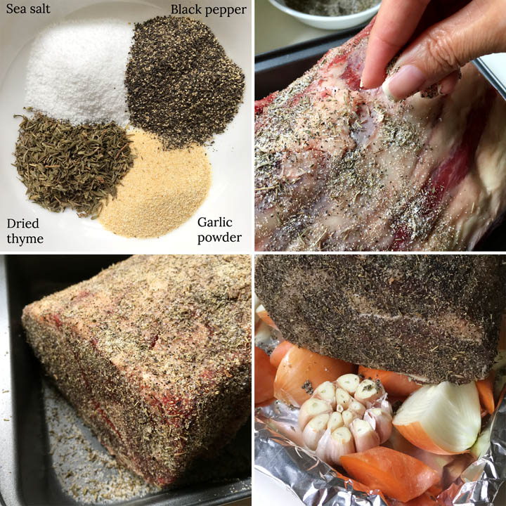 A collage: spices in a white bowl, a hand sprinkling spices on a raw roast, a beef roast covered in spices in a baking pan, a spice-covered roast on a bed of onions, garlic, and carrots