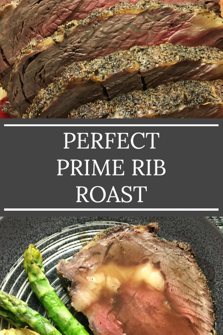 Slices of pink and brown beef roast slices next to a carving fork on a wooden cutting board, the words perfect prime rib roast on the bottom