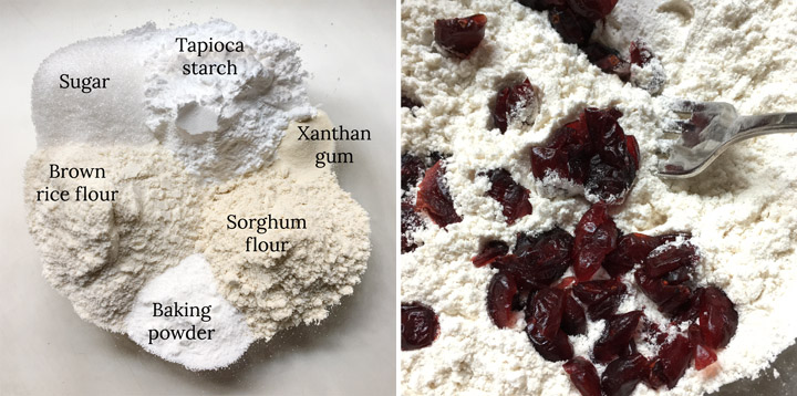 Two photos: dry ingredients in a bowl, dried red cranberries in flour