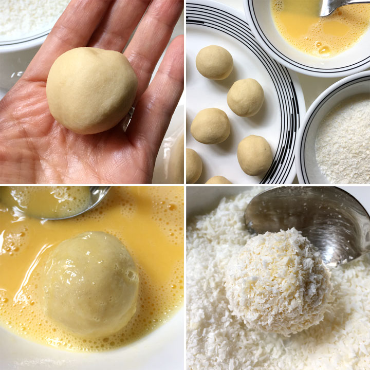 Collage: A yellow dough ball in a hand, dough balls on a plate next to bowls of scrambled egg and white shredded coconut, a dough ball in yellow egg wash, a dough ball coated in shredded coconut