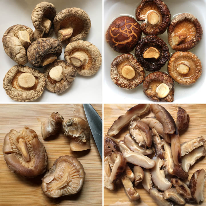 Dried mushrooms in a white bowl, mushrooms soaking in water, mushrooms cut into strips on a wooden cutting board
