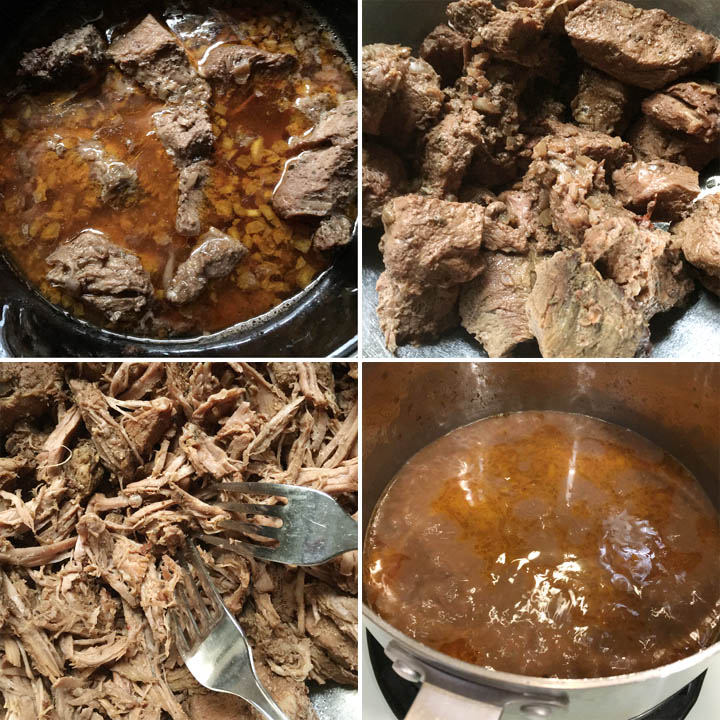 Beef chunks in brown liquid, beef chunks, two forks shredding beef, brown liquid in a pot