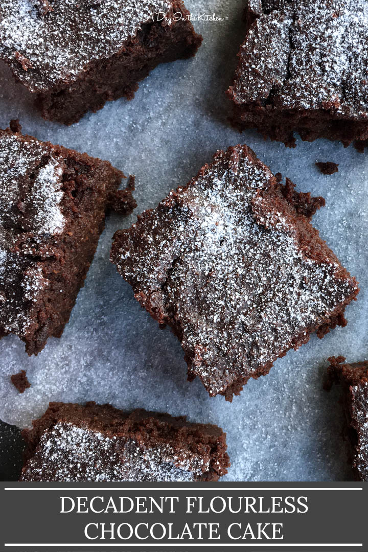 Square pieces of chocolate cake on parchment paper, the words decadent flourless chocolate cake on the bottom