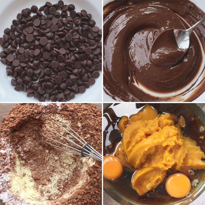 Chocolate chips, melted chocolate, dry ingredients, a bowl with eggs and orange canned pumpkin