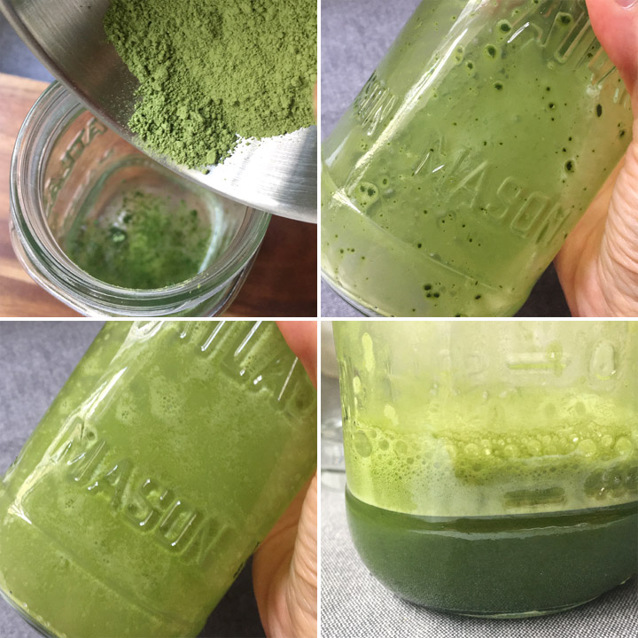 Collage of photos showing how to shake green tea powder and water in a sealed jar