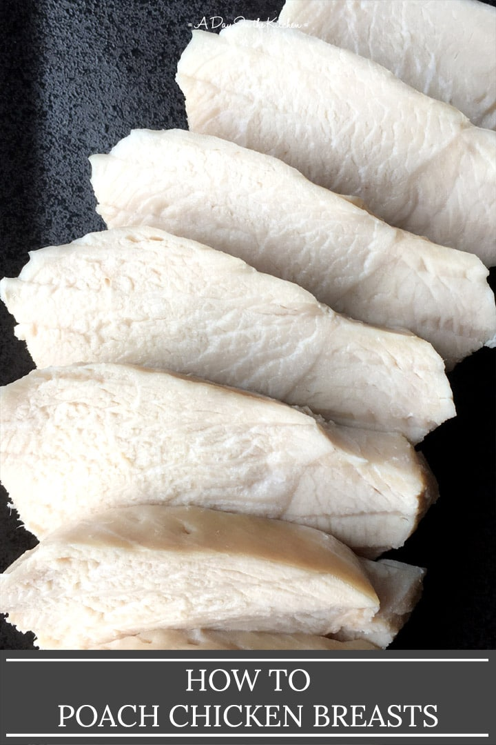 Slices of white chicken meat on a black plate, the words how to poach chicken breasts on the bottom