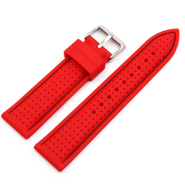 silicone watch strap red china factory 20 22