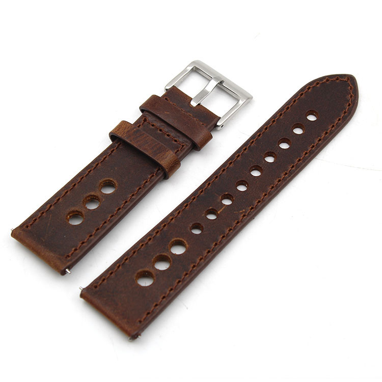 racing watch strap crazy horse leather vintage