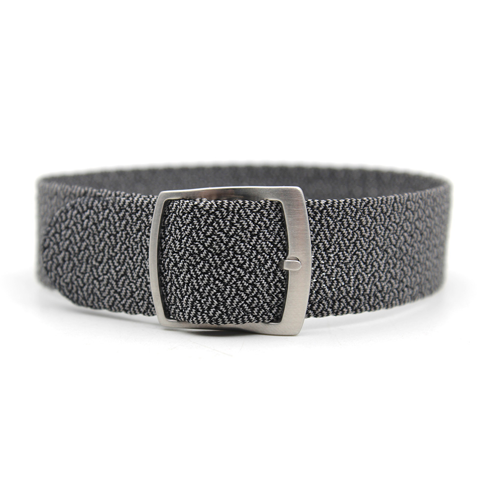 nylon perlon strap grey black 20mm brushed buckle