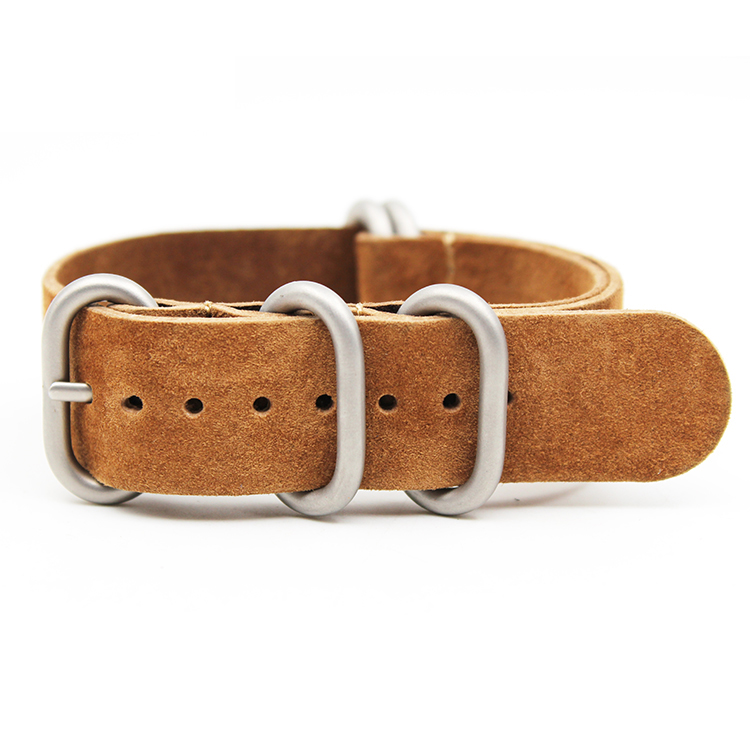 zulu strap leather brown suede cowhide 5 rings