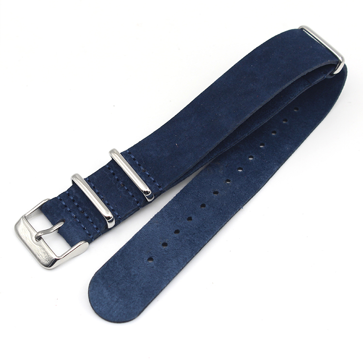 leather watch band strap suede blue