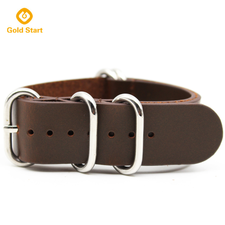 strong heavy duty 5 ring brown leather zulu strap