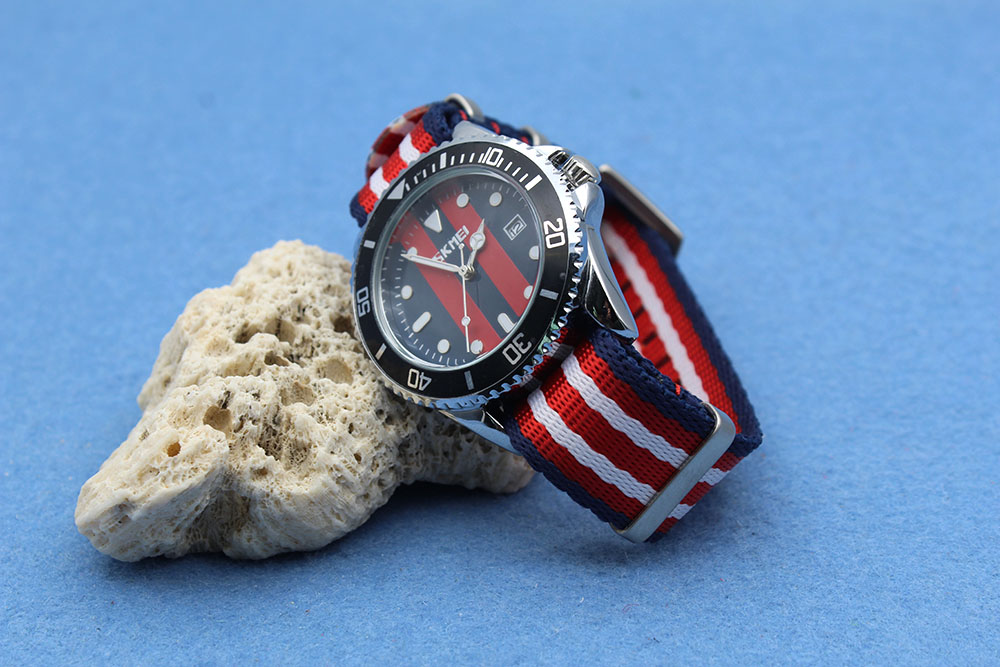 china nato straps manufacturer navy blue red military brushed