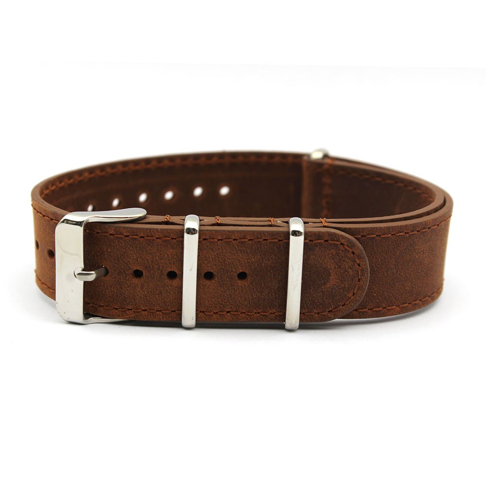 military nato strap vintage brown crazy horse leather
