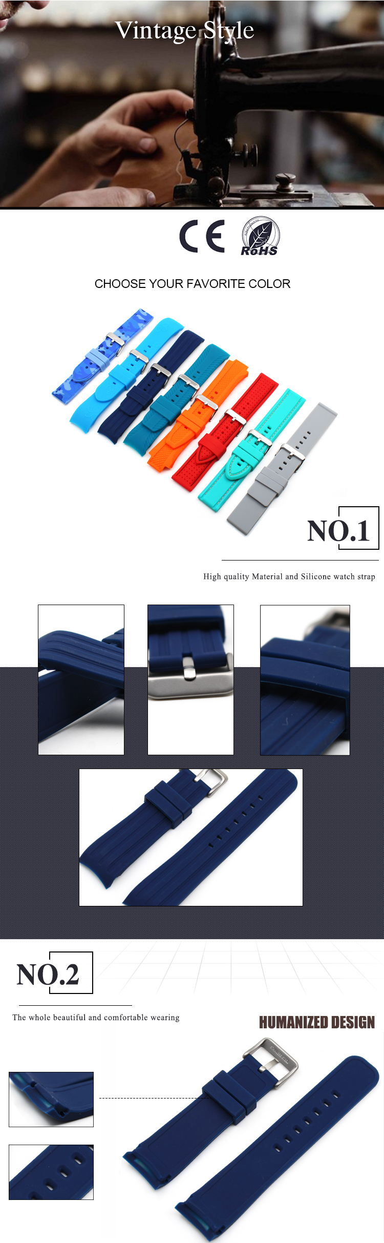 22mm rubber watch bands