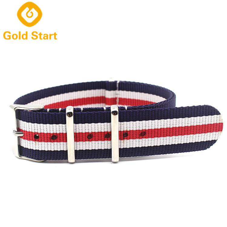 blue white red striped ballistic nylon dw nato strap