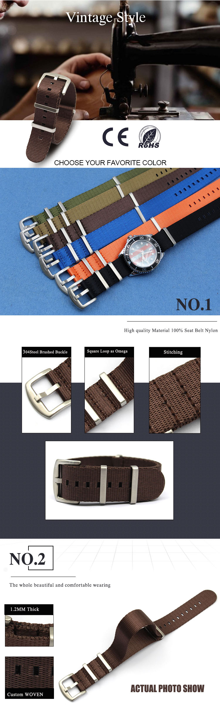 one piece watch strap nylon brown seatbelt Nato